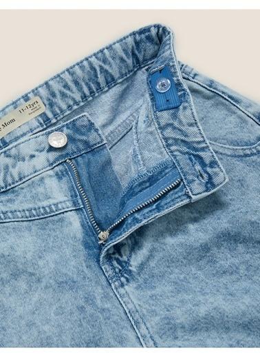 Marks & Spencer Yüksek Belli Denim Şort Mavi